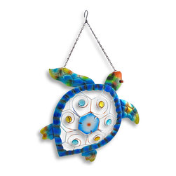 Zeckos - Colorful Metal Sea Turtle Wall Art Hanging - This sea turtle exudes the exotic in brightly colored iridescent splendor ready to take a proud place on the walls of homes, covered porches or garden entries. It's a splendid specimen crafted from metal that curls and curves in bright hand-painted colors of blues, yellows, reds and greens that really make this turtle pop Faceted synthetic beads and colored glass work their magic adding whimsy to its shell, and easily hangs on the wall with the attached metal hook and chain that has a drop of 8 1/2 inches, so it will easily hang in a window, too This sea turtle would make quite a statement on a wall in a living room, an office or greeting your guests in an entryway, and measures 17 1/2 inches long, 18 inches wide and 2 1/4 inches deep.