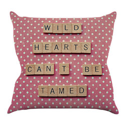 "Kess InHouse - Nastasia Cook ""Wild Hearts Can't Be Tamed"" Pink Dots Throw Pillow (26"" x 26"") - Rest among the art you love. Transform your hang out room into a hip gallery, that's also comfortable. With this pillow you can create an environment that reflects your unique style. It's amazing what a throw pillow can do to complete a room. (Kess InHouse is not responsible for pillow fighting that may occur as the result of creative stimulation)."