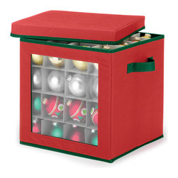 Whitmor - Whitmor Ornament Storage Cube - Keep your special ornaments in perfect condition year after year in this holiday Window Ornament Storage Chest.  With the clear window front allowing you to see which pieces are tucked away, you will never have to hunt through endless boxes again.   Festively attired in red and green, these boxes will soon be as much a part of your holiday tradition as the special collectibles they contain.