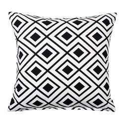 "LaCozi - ""Lotzi"" Black and White Throw Pillow - Throw something striking on your sofa. An eye-popping print in 100 percent cotton, quality crafted with double-stitched seams, this pillow is beyond bold, a statement-maker for your decor."