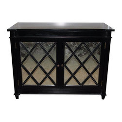 Pre-owned Vintage Style Mercury Glass Chest - This is a new chest made by Noir. It's made of mahogany wood which has been painted in black and then hand rubbed. It is very high quality and could be used in a dining room, bedroom, living room, etc.