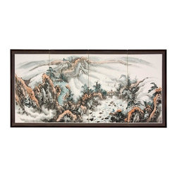 "Oriental Furniture - 36"" Mountaintop Landscape - This Mountaintop Landscape rendition is extraordinary, with ink detailed trees and cliffs in the foreground, and faraway peaks fading into the background. Note that no two renderings are exactly the same. Subtle, beautiful hand painted wall art."
