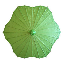 Oriental-Décor - Melon Green Scalloped Parasol - On a bright, sunny day, the Melon Green Scalloped Parasol will bathe you in a soothing glow while offering you some relief from the sun.  Made from oiled paper and wood, our colorful paper parasols are built to last, and feature an intricate design that brings out their texture in an elegant, artistic package.  Every woman needs a parasol to add a special feminine touch to any summertime outfit.  Paper parasols date back decades, and are still carried today by many Chinese women.  They are a chic way to bring some old-fashioned class to your modern wardrobe.  Perfect for a summertime wedding, or a day at the races, the Melon Green Scalloped Parasol will be the envy of your friends, and will leave you answering the question  'Where did you get that? '  No more squinting in the harsh sunlight!  Like its culinary namesake, the Melon Green Scalloped Parasol is a refreshing alternative to an obtrusive pair of dark sunglasses.  Our paper parasols will help you create your own shade all day long.  They are aff