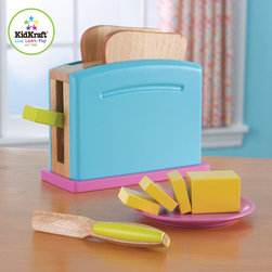 Kidkraft - Kids Bright Toaster Set From Vistastores - Children often want to help their parents in the kitchen. With our new Pastel Toaster Set your young helpers will be able to take care of the toast all on their own! The bright colors and rich details of this wooden 9-piece set are sure to keep imaginations running wild, Toaster handle presses down, pops back up, Stick of butter, Butter is held together by Velcro and can be pulled apart easily.
