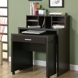 Space Saver Computer Desk - Cappuccino Hollow Core Open Storage Computer Desk - This versatile space saver desk offers an ideal computer workstation for your home, This hollow-core piece is great for smaller homes or rooms, helping you make the most of your space, The pull-out desk on casters is perfect for your laptop and the built in drawer can be used for storing office supplies, The middle shelf is a great place to keep papers and books organized, while the top hutch contains six compartments for more space, This cool computer desk will be a welcome addition to your home with its solid hardwood and veneer construction wrapped in a deep cappuccino finish, and straight, panels legs.