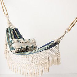 Tayrona Hammock - With blue stripes and fringe, this hammock has a lot of personality.