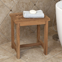 Teak Honeycomb Shower Stool - This Teak Wood Honeycomb Shower Stool is perfect for adding stability and comfort to your walk-in shower.