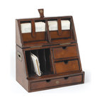Go Home - Secretary Desktop Organizer - Gorgeous rustic leather desktop secretary is low-tech organizer for papers, pens and office what-have-yous is crafted out of sumptuous leather and antique brass.Features three drawers mail sorter and two latched compartment.