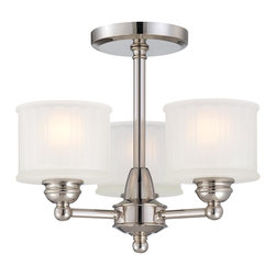 Minka Lavery - Minka Lavery 1738-613 Polished Nickel 1730 Series 3 Light Semi Flush Mount - Etched Glass Box Pleat Shades