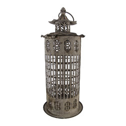 Zeckos - Distressed Finish Gray Lantern Candle Holder 15 Inch - This beautiful metal and glass decorative lantern style candle holder has a wonderfully rustic, distressed gray enamel finish . The lantern opens via a clip on the top, and has a glass chimney for safety .It has a hanger ring on top, so you can hang it from eaves or trees, and has a flat bottom, so it can be displayed on tables or decks. The lantern is 15 inches tall (7 inches including the hanger), 6 1/2 inches in diameter. It can accept pillar candles up to 3 inches in diameter and 8 inches tall. It makes a great gift for friends and family.