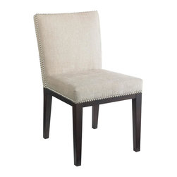 Sunpan Imports - Upholstered Square Back Dining Chair w Nailhead Trim - Set of 2 - Set of 2. Unique double row of silver nail head on the seat. Fabric with espresso frame and legs. 20 in. L x 18 in. W x 33 in. H