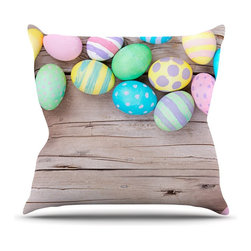 """KESS InHouse - KESS Original """"Springtime"""" Easter Eggs Throw Pillow, Indoor, 18""""x18"""" - Rest among the art you love. Transform your hang out room into a hip gallery, that's also comfortable. With this pillow you can create an environment that reflects your unique style. It's amazing what a throw pillow can do to complete a room. (Kess InHouse is not responsible for pillow fighting that may occur as the result of creative stimulation)."""