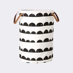 Ferm Living Half Moon Laundry Basket - This fun and whimsical laundry basket features a bold, modern black and white design. It's made of 100 percent organic cotton and includes leather handles for easy carrying.