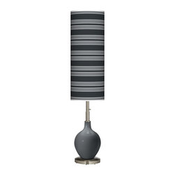 "Color Plus - Contemporary Black of Night Bold Stripe Ovo Floor Lamp - Welcome exquisite color and design to your home decor with this Color + Plus™ glass floor lamp. The design is hand-crafted by experienced artisans in our California workshops with a Black of Night designer high-gloss finish. It is topped with a stylish made-to-order translucent shade that features a Bold Stripe pattern in rich color tones that complement the base hue. A brushed steel finish stand and neck balance the look in contemporary style. U.S. Patent # 7347593. Black of Night designer glass floor lamp. Bold Stripe pattern giclee-printed translucent shade. Brushed steel finish. Takes one 150 watt bulb (not included). On/off column switch below shade. 60"" high. Shade is 34"" high 13"" wide. Base is 10"" wide.  Black of Night designer glass floor lamp.  Bold Stripe pattern giclee-printed translucent shade.  Brushed steel finish.  Takes one 150 watt bulb (not included).  On/off column switch below shade.  60"" high.  Shade is 34"" high 13"" wide.  Base is 10"" wide."