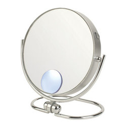 "Jerdon - Mini Folding Dual Sided 10x Travel Mirror - The Mini Folding Two-Sided Swivel Travel Mirror is an ideal bathroom and makeup accessory that can be taken on all your journeys, helping you maintain your look wherever you go. This smart travel mirror folds flat and features a cleverly designed stable base with a convenient tilt adjustment and 360-degree swivel rotation to angle this mirror however you please. The travel pouch makes it easy to stow in suitcases, handbags and storage bins while youre on the go. Features: -Includes a velveteen travel pouch to protect its surface. -Reversible 1x and 10x magnification. -Finish: Chrome. -Compact design for the avid traveler or businessperson. -360-Degree swivel rotation. -Finish protects against moisture and condensation. -Manufacturer provides 1 year limited warranty. Dimensions: -Mirror Diameter: 3"". -Overall Dimensions: 6.25"" H x 4"" W x 0.5"" D, 0.30 lb."