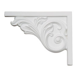 """Ekena Millwork - 8 3/4""""W x 7 5/8""""H x 5/8""""D Bremen Acanthus Stair Bracket, Left - With the beauty of original and historical styles, decorative stair brackets add the finishing touch to stair systems.  Manufactured from a high density urethane foam, they hold the same type of density and detail as traditional plaster stair bracket products.  They come factory primed and can be easily installed using standard finishing nails and/or polyurethane construction adhesive."""