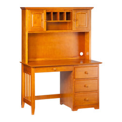 Atlantic Furniture - Windsor Computer Desk / Hutch in Caramel Latte - The Computer Desk with Hutch features a large work surface and ample storage drawers. Solid hardwood frame comes with dove tail joined drawers and mortise and tenon construction. Comes fully assembled in Styrofoam packaging.