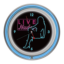 Trademark Global - D Series Shadow Babes Wall Clock in Blue - Battery not included. High grade glass cover. Requires 1 AA battery for clock operation. High polished chrome finish molded resin housing. Brushed metal hour and minute hands, red second hand. Full color logo on the clock dial. Double ringed neon. Outside ring coordinates with printed logo and inside ring illuminates the clock face. Battery operated quartz clock mechanism. Wall hanging mount. ON/OFF switch for neon ring operation. AC power adapter with 6 ft. cord. 14.5 in. Dia. (5.5 lbs.)Make a spectacular addition to your kitchen, den or game room with this amazing clock.