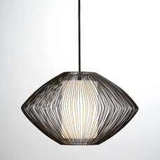 Contemporary Pendant Lighting Holm Pendant: Black with White Glass Shade