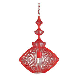 """Currey & Company - Currey & Company Lollipop Red Ceiling Pendant - The lively color of Lollipop Red makes this intriguing wire design pop out from its surroundings. This pendant illustrates the sophisticated use of simple wire that captures the appeal of classical shapes, but also allows the designer's imagination to roam. Pendant measures 15"""" in diameter X 21""""H and takes single 150 watt max bulb (BULB IS NOT INCLUDED)."""
