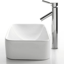 Kraus - Kraus C-KCV-122-1002SN White Rectangular Ceramic Sink and Sheven Faucet - Add a touch of elegance to your bathroom with a ceramic sink combo from Kraus