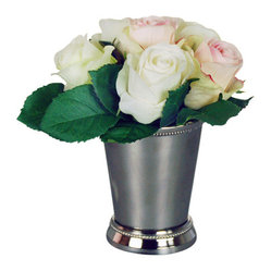 "Jane Seymour Botanicals - Roses in Julep Cup, Pink/White - Pure white and delicate  pink roses arranged in a classic julep cup add true Southern charm to your decor. And hush! You needn't tell a soul these are ""forever flowers,"" since they'll always look just-cut fresh."