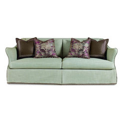 Schnadig - Caracole Open Arms - Give a big welcome to ultra plush down cushions and feather down pillows on this two-seat, 8-way hand tied fully upholstered sofa frame - elegantly dressed, and accessorized, courtesy of our expert design team. The special pillow trim features raw wood and silk thread beads. A flexible piece that fits into whatever your design decor calls for, from contemporary to traditional or transitional. Pair sofas in front of a fire place, conversation setting, or even in a bedroom and prepare to relax.