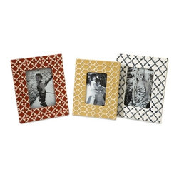 "IMAX CORPORATION - Peters Graphic Photo Frames - Set of 3 - Bold, graphic patterns and primary colors make this appealing set of frames great for any collection of treasured photos. Set of 3 in various sizes measuring around 19""L x 13.5""W x 11.5""H each. Shop home furnishings, decor, and accessories from Posh Urban Furnishings. Beautiful, stylish furniture and decor that will brighten your home instantly. Shop modern, traditional, vintage, and world designs."
