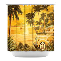 DiaNoche Designs - Shower Curtain Artistic - Tropical Getaway - DiaNoche Designs works with artists from around the world to bring unique, artistic products to decorate all aspects of your home.  Our designer Shower Curtains will be the talk of every guest to visit your bathroom!  Our Shower Curtains have Sewn reinforced holes for curtain rings, Shower Curtain Rings Not Included.  Dye Sublimation printing adheres the ink to the material for long life and durability. Machine Wash upon arrival for maximum softness. Made in USA.  Shower Curtain Rings Not Included.