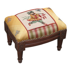 Oriental Figure Needlepoint & Fabric Footstool, Dark Wood - Great for Asian, traditional, French Country, shabby chic or almost any decor. These are small so they are great for tight spaces. Use for extra seating if you need it.