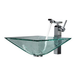 Kraus - Kraus Clear Aquamarine Glass Vessel Sink and Unicus Faucet Chrome - *Add a touch of elegance to your bathroom with a glass sink combo from Kraus