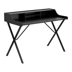 Flash Furniture - Black Computer Desk with Top Shelf - This large surface writing desk will provide you enough space for your laptop and writing materials. The compartments allow you to neatly store away paper and other small office products. The protective ledge border will permit papers from easily falling off the edge of the table. The appealing design of this desk will complement any work space.; Spacious Laminate Top; Protective Surrounding Ledge Border; Middle Shelf for paper organization; Middle Shelf: 16.3125''W x 5.375''H; Full Length Top Shelf; Criss Cross Leg Design; Black Powder Coated Frame Finish; Steel Inner Tubing; Plastic Floor Glides; Finish: Black Laminate; Materials: Laminate, Steel; Weight: 28 lbs; Overall Dimensions: 46.812''W x 23.625''D x 34.812''H