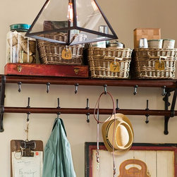 French Café Entryway Rack - Sure, this rack could be used for other things, but I'm seeing pots on the lower rack and ladles and other gadgets (tongs?) hanging from the top hooks.