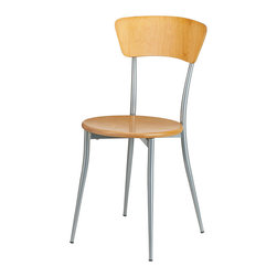 Adesso - Adesso WK2843-12 Cafe Chair - Nat Wood/Steel S2 - Adesso WK2843-12 Cafe Chair - Nat Wood/Steel S2
