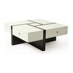 """Pastel Furniture - Pastel Furniture Jumeirah 40 Inch Square Coffee Table in Black, White - The Jumeirah coffee table is not only a beautiful piece of furniture but an art piece as well. In addition to adding elegance and style to a room, it will make a great conversation piece. This 40"""" square coffee table comes in glossy black and white wood."""
