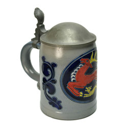 Lavish Shoestring - Consigned Deer Hunting Stoneware Beer Stein in Blue Red & Yellow w/ Lid, German - This is a vintage one-of-a-kind item.