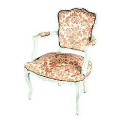 Used Vintage French Country Accent Chair - It's so hard to find authentic 1930s French Country/shabby chic arm chair, but here's a nice example for your decor. This vintage French Country arm chair features white with carved and painted floral motifs, along with chenille-like fabric upholstery on the seat, back, and arms. This authentic vintage piece comes directly from France and will add a romantic, feminine touch to any room. Use it for reading a book by a sunny window in your home or summer cottage, or put it in a guest room for a lovely design touch! Please note,this piece shows wear to the painted finish, particularly on the arms, the armrests are threadbare, and the front right seat bottom is very worn due to age and use.
