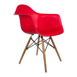 """Montmartre Arm Chair in Red - Some designs were ahead of their time. Considered the chair of tomorrow both for its design and its innovative single-mold manufacturing process, the Montmarte Arm Chair is inspired by one of the most iconic mid-century furniture designs. Created in the spirit of economy and affordability, its unique shape was designed to spread the sitter's weight and pressure evenly. The deep seat and waterfall edge provide additional comfort as the design shapes itself around the body's curves, while its ashwood dowel legs add a classic touch. If you've done away with formality in your home, the Montmarte Arm Chair is that one piece of furniture that exemplifies the """"less is more"""" ethos. It's the ultimate seat that goes well in a variety of different settings: as a home office chair, an entryway slipper seat, or a statement piece in the living room."""