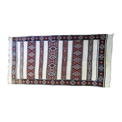 "Pre-owned Woven Moroccan Berber Rug - An amazing Moroccan Rug with beautiful traditional patterns. The rug is large enough for a living area, office or bedroom. It was sourced directly from Morocco and recently flown to Los Angeles. The rug is black, white and red with luxurious textures and patterns.      Measures: 10'-0"" x 5'-3""  Height: 1/4"""
