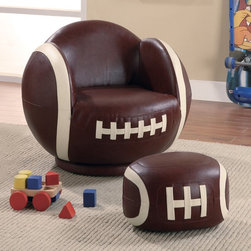 Small Football Chair and Ottoman - Normally I think this kind of stuff is cheap or cheesy, but these are cute. Sport-themed chairs would make for fun seating options in a kids' room, playroom or even the family room.