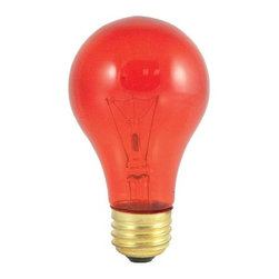 Bulbrite - Transparent Incandescent Bulbs in Orange - 24 - One pack of 24 Bulbs. 120V A19 standard E26 medium base bulb. 360 degrees beam spread. Vibrant transparent colored party bulbs. Fade-resistant coating. Great for adding a touch of color to any fixture. Great for sign, display, amusement and theater. Lamps may vary in color when lit. Dimmable. Average hours: 2500. Color temperature: 2700 K. Color rendering index: 100. Wattage: 25 watt. Maximum overall length: 4.25 in.