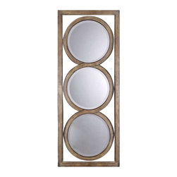 Uttermost Isandro Metal Silver Mirror - Silver undertones with a black-gray wash and burnished edges. Made of hand forged metal, this frame features and open design that allows wall color to show thru and is finished in silver undertones with a black-gray wash and burnished edges. Mirrors are beveled. May be hung either horizontal or vertical.