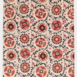 Rug Knots - Floral Ikat Area Rug Red And Tan 6x9.08 - This unique and colorful Ikat is like no other. With the flowing dark colored vines weaving between colorful designs, this rug boasts designs and patterns that demand attention. Having this rug as a centerpiece will brighten any room and add a beautiful array of color and style.