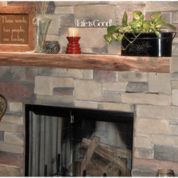 Kettle Moraine Hardwoods - Kettle Moraine Hardwoods Clymer Rustic Fireplace Mantel Shelf Multicolor - 5 FT. - Shop for Mantels and Trim from Hayneedle.com! What We Like About This Kettle Moraine Hardwoods Clymer Rustic Fireplace Mantel ShelfThe smooth front of this Kettle Moraine Hardwoods Clymer Rustic Fireplace Mantel Shelf has the few-furrowed natural bark of the butternut tree. Cut in a generous 60-inch slab its natural veins and knots give a hearty accent to the stone or brickwork of your fireplace area. Butternut wood is closely related to American Black Walnut but with a coarser grain and lighter more golden color.Please note: Mantel shelf will vary slightly from the one shown. Because each log is different each mantel has its own unique grain and characteristics. These differences do not affect the structural strength of the mantel.Dimensions: Approximately 60L x 10D x 4H inchesEach piece is unique - thickness will measure 3.5 - 4 inches and depth will vary from 8.5 - 12 inches.