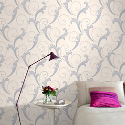 Graham & Brown - Serenata Wallpaper - A rich tonal scroll design embedded with lustrous textures and glitter highlights.