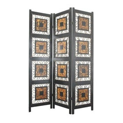 Oriental Furniture - 6 ft. Tall Coco Leaf Room Divider - The Coco Leaf Room Divider is a stunning piece of artwork that deserves center stage in any room. Each panel boasts four intricately inlaid squares attached to the frame with rope. Imported directly from Southeast Asia.