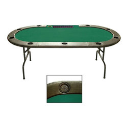 Trademark Poker - Texas Hold'em Poker Table w Dealer Position i - Choose Dealer Position: Without Dealer PositionComes with 9 tray player positions, built-in cup holders, padded armrest, padded felt, top built-in brass bill slot folding legs and steel reinforced exterior frame. Exterior frame: 96 in. L x 42 in. W. Overall: 96 in. L x 42 in. W x 4 in. H (108 lbs.)This Texas Hold'em Table has a full set of bumper pads around the table. The pads are covered with a high grade mildew resistant black vinyl. The table top is produced from a casino style high grade felt over a 3/4 in. wood material. The table top is padded to give the dealer and players the highest comfort level. This 96 in. version is the same size and style that is used in casino poker rooms around the world. It is also the same size as the one used on the Travel Channel and ESPN for their televised Texas Hold'em poker tournaments! Under the table top is a reinforced metal frame for added stability and strength.