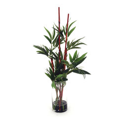 None - Bamboo Water 23-inch Bamboo Stalks - Add a tranquil, Zen-inspired piece to your home decor with the Bamboo water artificial plant. 23 inches in height, this beautiful plant arrangement mixes plastic bamboo stalks with natural sticks to create a unique, calming accent piece.