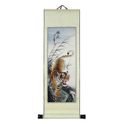 "Oriental-Décor - 27"" Descending Tiger - This awesome 27 inch tall Descending Tiger Chinese scroll painting will make a lovely addition to any space on your wall. The tiger is the true king of the jungle and is the largest of the big cats. The Chinese revere the tiger for its fierceness and power. It is one of the animals in their zodiac and also one of the most beautiful of all the big cats. This scroll painting is hand-painted and shows a tiger descending down the side of a hill while giving off a roar."