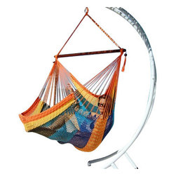 Jumbo Sized Multicolor Striped Weather Resistant Rope Hammock Chair - Hammock chairs bring style and relaxation to any decor. This Jumbo sized multicolor striped rope hammock chair is hand woven from soft spun polyester. Unlike cotton chairs, they will not rot, mold or mildew, and should last you for years. Woven into the body is an extra long extendable footrest that enables the user to really stretch out. The tropical hardwood spreader bar s a full 47 inches wide giving ample shoulder room for any sized person, and has multiple coats of marine varnish to protect it from the elements. It has a maximum capacity of 275 pounds. This chair hangs easily from one suspension point that is 7.5ft or higher. NOTE: It does not come with stand or mounting hardware.